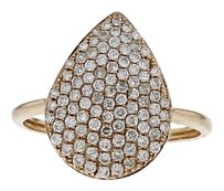 14k Rose Gold and Diamond Tear Drop Ring Size 7