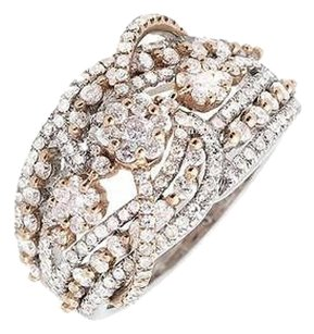 14k Rose Gold And White Gold Flower Swirl Ribbon Diamond Statement Ring 1.75ct.