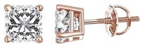 Other 14k Rose Gold Earrings Solitaire Princess Cut Screw Back 0.50 Carat Cubic Zircon