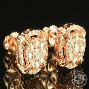 14k Rose Gold Finish Screw On Unisex Cluster Tower Earring Sterling Silver Cz