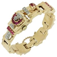 14k Solid Yellow Gold Ruby 0.60ctw Diamond Watch