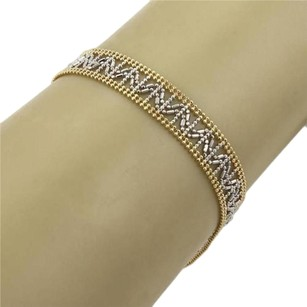 14k Two Tone Gold 9.5mm Wide Open Bead Design Bracelet