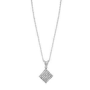 14k White Gold 1 Cttw Princess Diamonds Necklace W. Cube Pendant