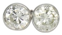 Other 14k White Gold 1.05tcw Si1-2 I J Bezel Diamond Stud Earrings E80