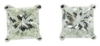 14k White Gold 1.20 Tcw Princess Cut Diamond Stud Earrings E296