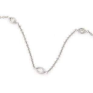 14k White Gold 1.40ctw Marquise Cut Diamonds By The Yard Necklace