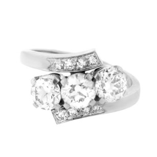 14k White Gold 1.75ct Diamond Bypass Ring