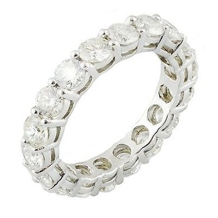 Other 14k White Gold 3.24 Ct Round Diamond Eternity Band Ring 4.1 Grams Ring 6.75