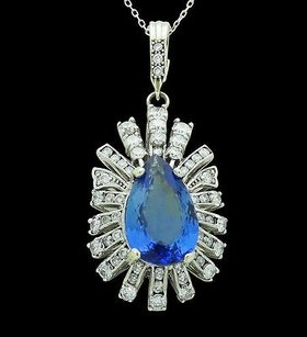 14k White Gold Apx. 9.05 Tcw Diamond Tanzanite Pendant Nekclace N395