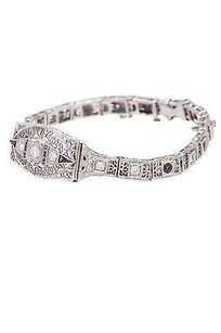 Other 14k White Gold Diamond Sapphire Antique Deco Bracelet