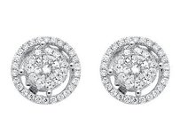14k White Gold Double Halo Solitaire Accent Genuine Diamond Stud Earrings 2.0ct