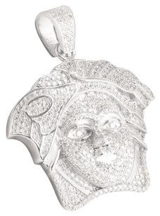 Other 14k White Gold Finish Medusa Face Sterling Silver Micro Pave Lab Diamond Pendant