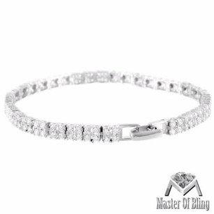 14k White Gold Finish Solid 925 Silver Ladies Lab Diamond Bracelet