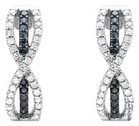 Other 14k White Gold Infinity Bow Blue And White Diamond Dangle J-hoop Earring 0.50ct.
