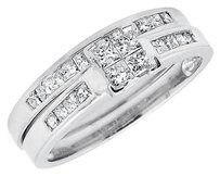 14k White Gold Invisible Princess-set Quad Diamond Engagement Bridal Ring .71ct
