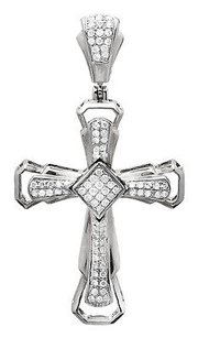 14k White Gold Mens Ladies Genuine Diamond Pave Set Cross Pendant 1.5 In .60 Ct