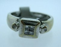 Other 14k White Gold Princess Cut Invisible Set Diamonds Ladies Ring