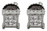 14k White Gold Square Frame Princess Invisible Diamond Stud Earrings 0.25ct 5mm