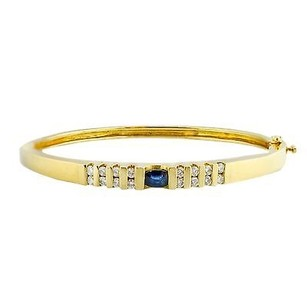 14k Yellow Gold 0.56ct Gvs1 Diamond 0.30ct Sapphire Bangle Bracelet 19.5 Gram 8