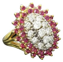 14k Yellow Gold 1.25 Carats Tcw Diamond And Ruby Burst Ring 7.25 R180