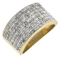14k Yellow Gold 13mm Wide Invisible Princess Diamond Pinky Wedding Ring 3.5ct