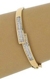 Other 14k Yellow Gold 2.70ctw Princess Cut Diamond Hinged Bypass Design Bracelet