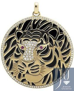 14k Yellow Gold Cheetah Panther Cougar Diamond 1.5 Inch Medallion Pendant 1.0ct