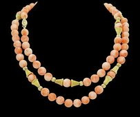 Other 14k Yellow Gold Coral Necklace Inches Long N402