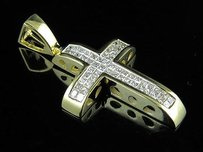 14k Yellow Gold Cross Princess Invisible Set Diamond 1.25 Pendant Charm 0.75ct