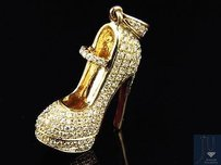 14k Yellow Gold Designer Red Bottom Heel Shoe Diamond Pendant Charm 1.62ct.