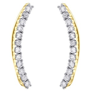 Other 14k Yellow Gold Diamond Ear Climbers Curved Hook Earrings 1.05 Long 1 Ct.
