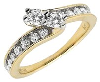 14k Yellow Gold Forever Stone 1 Row Channel Diamonds Engagement Ring .75ct