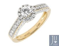 Other 14k Yellow Gold Halo Solitaire Genuine Diamond Engagement Wedding Ring 1.0ct