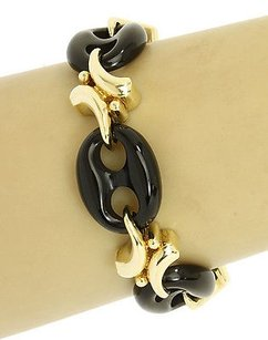 14k Yellow Gold Hand-carved Black Onyx Mariner Link Bracelet 7 Long