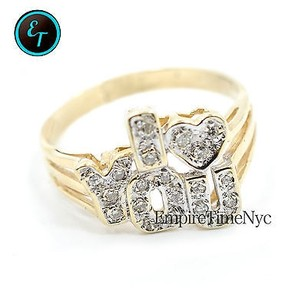 14k Yellow Gold I Love Ring White Diamond Cluster With .22ct 5.3