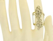 Other 14k Yellow Gold Ladies Round Diamond Flower Knuckle Cocktail Chain Ring 0.60 Ct