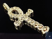 14k Yellow Gold Miami Cuban Link Style Ankh Inch Diamond Pendant Charm 2.0ct