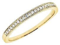Other 14k Yellow Gold Milgrain One Row Diamond Engagement Wedding Ring Band 0.10ct