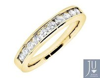 14k Yellow Gold One Row Channel Real Diamond Engagement Wedding Ring Band 0.50ct
