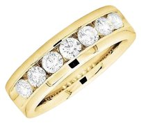 14k Yellow Gold One Row Round Diamond Comfort Fit Engagement Wedding Band 1.5ct