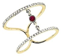 14k Yellow Gold Stack Orbit Strand Ruby Fashion Cocktail Diamond Ring 0.50ct
