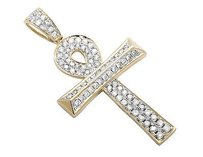 14k Yellow Gold Wood Log Ankh Cross Genuine Diamond Pendant Charm 1.12ct. 1.4