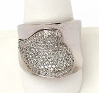 14kt White Gold 1ctw Diamond Wide Contour Heart Design Ring Band