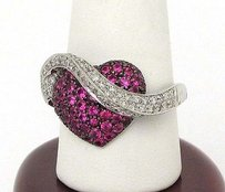 14kt White Gold 2.80ctw Diamond Band Over Ruby Heart Modern Design Ring