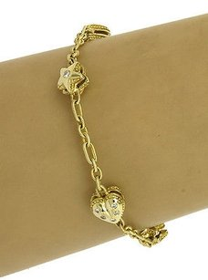 14kt Yellow Gold .60ctw Diamond Hearts Stars Motif Chain Link Bracelet