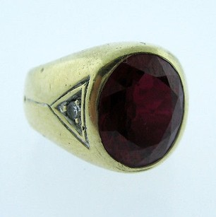 14k,Yellow,Gold,Ladies,Ruby,Stone,Ring,Size,4
