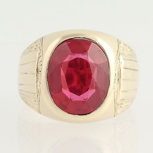 Art Deco Synthetic Red Spinel Ring - 10k Yellow Gold Mens 14 - 12