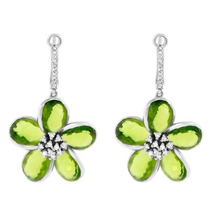 Other 16.03ct Peridot Quartz 14k White Gold And Diamond Drop Flower Earrings