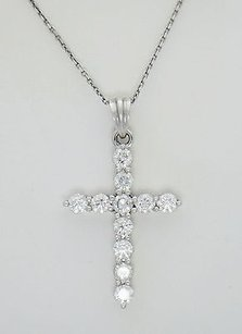 1.78ct Diamond Cross Pendant On 14kt White Gold Chain N50