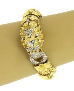 Other 1.85ct Diamonds Ruby Dragon Head Bracelet In 18k Yellow Gold
